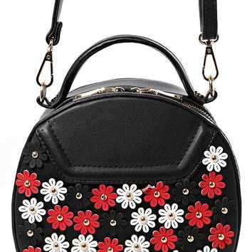Floral Embellished Round Across Body Bag in Black