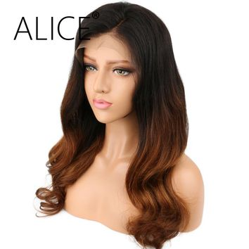ALICE Hair 150% Density Human Hair Full Lace Wigs Wavy Ombre Color Brazilian Remy Long Hair Wigs For Black Women
