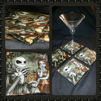 Nightmare Before Christmas black ceramic coasters, wall art, or decorative plate jack and sally design handcrafted
