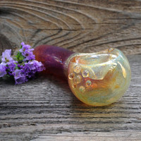 Color Changing Fuchsia Amber with Iridescent Yellow and Gold Glass Pipe