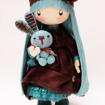 Doll Mimi brown and turquoise Boho, brown and blue cloth doll