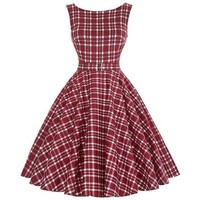 Womens Burgundy Red Plaid Pin-up Swing Rockabilly Dress