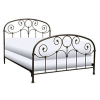 Queen Size Metal Bed with Headboard & Footboard in Rusty Gold Finish