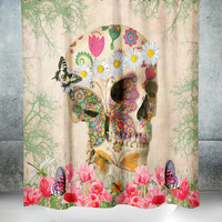 Sugar Skull Shower Curtain , Day Of The Dead , Retro Boho Hippie Skull