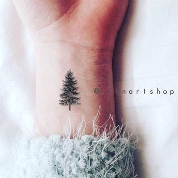4pcs Pine Tree Tiny Christmas gift tattoo - InknArt Temporary Tattoo - set wrist quote tattoo body sticker fake tattoo wedding tattoo small