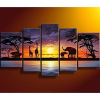 African Giraffe Elephant Landscape 5 Panels Wall Decoration large canvas art