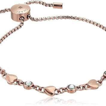 Michael Kors Womens Logo Love Heart Crystal Slide Bracelet