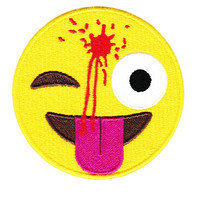 Large Cute & Funny Headshot Emoji Smiley Smile Face Patch 8cm Applique