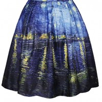 Blue Oil Painting Print Flare A-Line Skirt