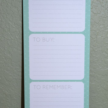 To Do, To Buy, To Remember Notepad