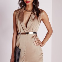 Missguided - Silky Sleeveless Wrap Over Mini Dress Taupe