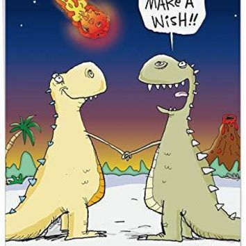 Funny Dinosaur 'Make A Wish' Happy Birthday Card - Big, Bold, Colorful Animal B-Day Wishes for Kids & Adults - Hilarious Prehistoric Congrats Greeting Card, Funny Birthday Card - Free Shipping