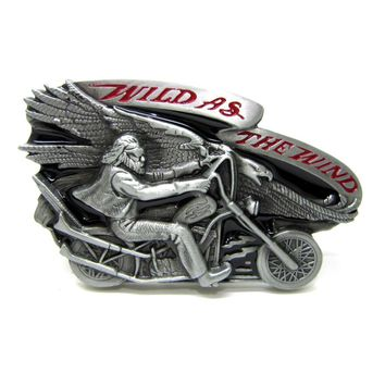 Wild As The Wind Choppers Motorcycle Rider And Eagle Belt Buckle