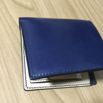 Handmade Men Leather Bifold Wallet No.1 - Hand Stitched and Dyed Yellow/Blue  - Full grain Veg-Tan