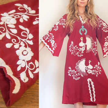 RARE 70s Ethnic Embroidered Bell Sleeve Dress One Size | Boho Chic 1970s Mexican Embroidery Caftan Maxi Dress Boho Hippie Folk Peacock Dress