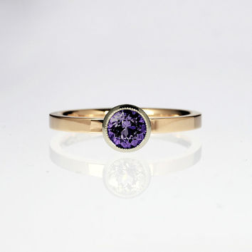 Tanzanite engagement ring, rose gold ring, purple engagement, white gold, vintage style, tanzanite wedding, unique, milgrain, violet, bezel