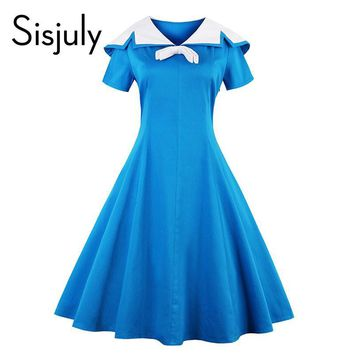 Sisjuly vintage dress 1950s style spring blue pin up short sleeve lapel women party dress summer elegant bow  vintage dresses