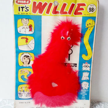 Vintage Whamo Willie Red Furry Worm Toy with Buck Tooth Googly Eyes Club Card Accessories 1964 Nostalgic NIB Collectable Estate Never Used