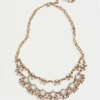 Georgie Pink Layered Crystal Statement Necklace