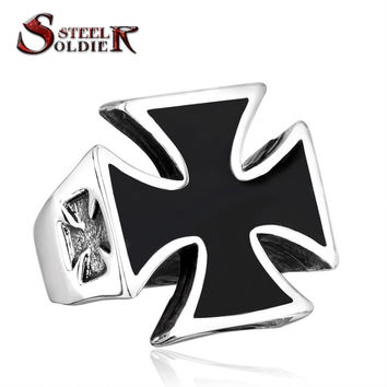 steel soldier Personality jewelry US Size 7-13 World War II Iron German Cross Man's Stainless Steel Fashion Ring BR8-220
