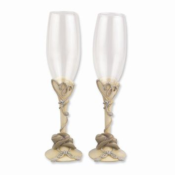 Resin Stems With Rope & Hat Country Flair Flutes - Etching Perfect Wedding Gift