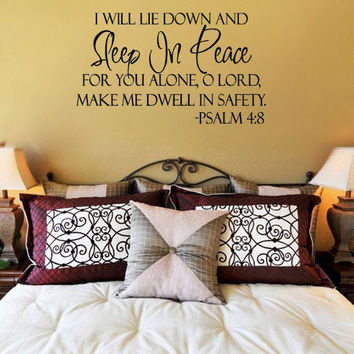 Sleep In Peace Bible Verse- Wall Decal Art Vinyl Sticker Decal Home Decor