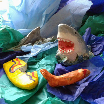 Shark Attack Action Set, Handmade Shark Model, Shark Figurine, Plaster of Paris, Surf Scene, Sea Life Creature, Halloween Gift Idea