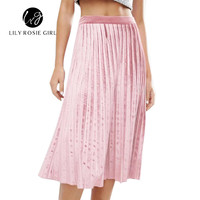 Autumn Cotton Pink Long Skirt Summer Casual Smooth Women Skirt 2016 Winter High Waist Skirt Elastic Pink Pleated Skirt