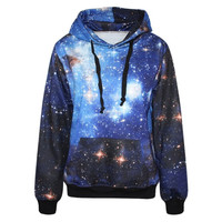 Mysterious Galaxy Print Women Long Sleeves Hoodie (Size: One Size, Color: Multicolor) = 5709359233