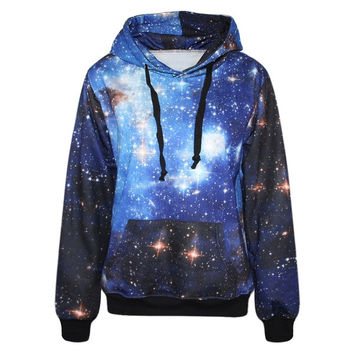 Mysterious Galaxy Print Women Long Sleeves Hoodie (Size: One Size, Color: Multicolor)