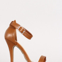 Women's Anne Michelle Leatherette Ankle Strap Open Toe Heel