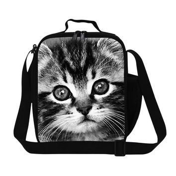 personalized cat print lunch bag with shoulder strap insulated lunch container for girls school,stylish work lunch cooler women