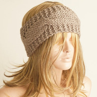 Beige Cable Headband, Winter Headband, Mocha band, wool