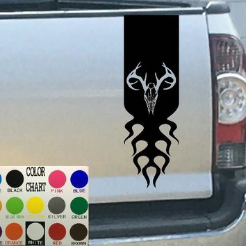 Deer Skull & Flames Tailgate Stripe Decal Sticker 4x4 Diesel Truck SUV
