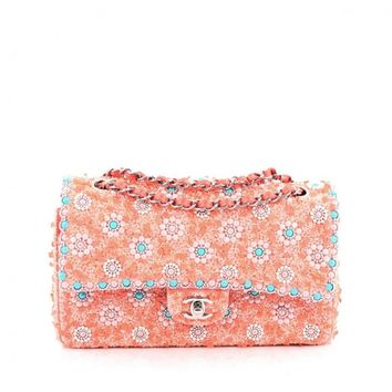 Chanel Classic Double Flap Bag Embellished Sequins and Pearls Medium
