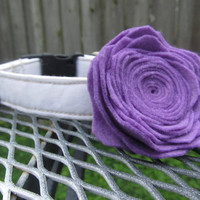 Dog Collar and Flower - LAVENDER Felt Rose Flower and White dog Collar - dog collar and flower, Felt Dog Flower, Wedding Dog Collar