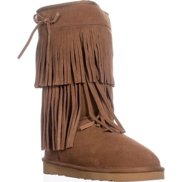 AR35 Senecah Fleece Lined Fringe Winter Boots, Chestnut, 5 US