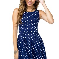 Bow Back Dot Flare Dress