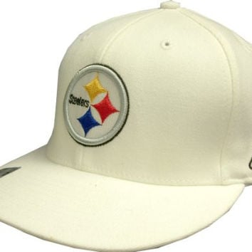 Pittsburgh Steelers Reebok White Flat Visor Flex Hat - One Size Fits Most