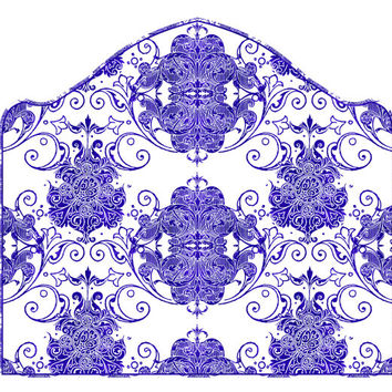 Wall Decal Headboard - Swirly Damask - Simple Curve - Blue and White - Twin Lite version