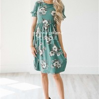 Emerald Floral Ruffle Sleeve Modest Summer Dress | Cute Modest Clothes | Modest Dresses and Skirt for Church