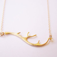 Gold Deer Antler 14k Gold Necklace