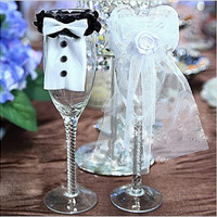 2Pcs Cute Bride & Groom Bow Tux Bridal Veil Wedding Party Toasting Wine Glasses Decor [7983552903]