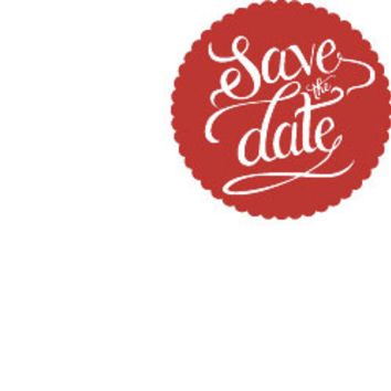 Scallop Circle Save The Date Rubber Stamp