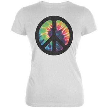 ONETOW Tie Dye Peace Sign Distressed Halftone Juniors Soft T Shirt