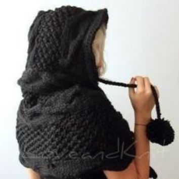 Black Hooded Poncho with Big Pom Pom by LoveandKnit on Etsy