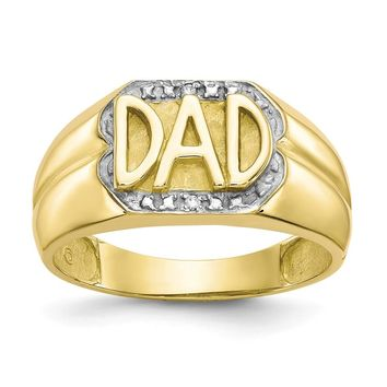 10k Yellow Gold Men's Diamond Dad Ring