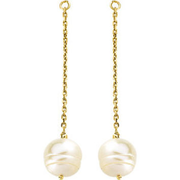 14K Yellow 9-11mm Freshwater Cultured Pearl Earring Jackets