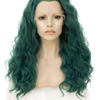 Long Joker Dark Green Wavy Synthetic Lace Front Wig