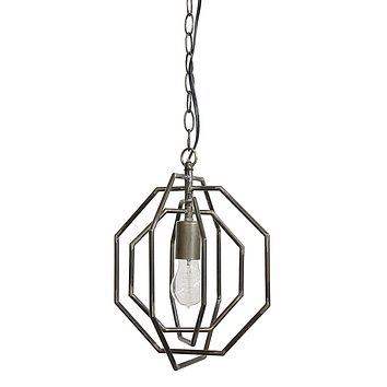 Three Dimensional Metal Octagon Pendant Lamp -- 12-3/8-in